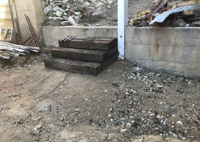 Railroad tie stairs