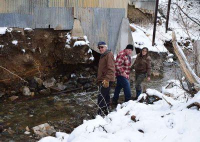 Flooding erosion and destruction